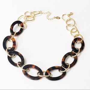 LOFT • Tortoise Shell & Gold Link Necklace